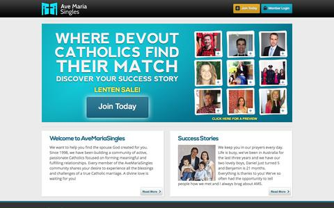 Screenshot of Home Page avemariasingles.com - Where devout Catholic singles find their match - captured March 28, 2018