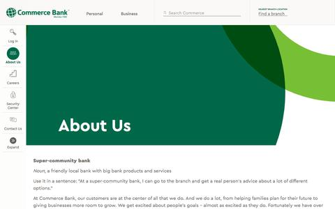 Screenshot of About Page commercebank.com - About Us | Commerce Bank - captured June 9, 2017