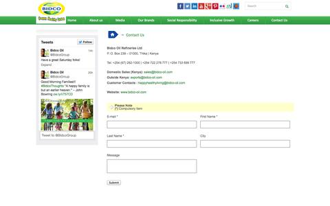 Screenshot of Contact Page bidco-oil.com - Contact Us | Bidco - captured Oct. 4, 2014