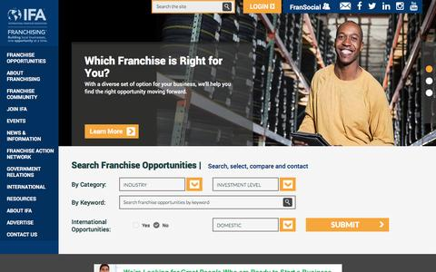 Screenshot of Home Page franchise.org - International Franchise Association - Over 1,200 franchise opportunities - Information on franchising, selecting a franchise, financing and starting a franchise. Plus the latest news, events and resources on franchising. - captured Jan. 17, 2016