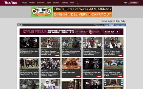 Screenshot of Press Page texags.com - Texas A&M Aggies Athletics Videos, Podcasts & Interviews | TexAgs - captured Aug. 16, 2016