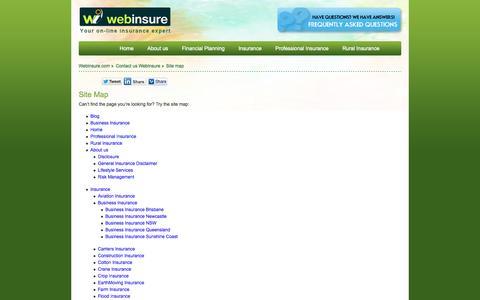 Screenshot of Site Map Page webinsure.com.au - Site map   WebInsure - Business Grade Insurance Advisors - captured Oct. 9, 2014