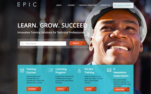 Screenshot of Home Page epictraining.ca - EPIC Educational Program Innovations Center: Engineer Training Seminars, Courses and Professional Development - captured Jan. 23, 2016