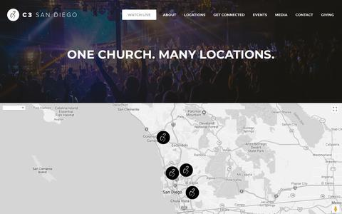 Screenshot of Services Page c3sandiego.com - One Church - Many Locations - Multiple Services   C3 San Diego - captured Feb. 23, 2018