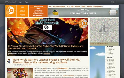 Screenshot of Home Page zeldainformer.com - Zelda Informer - Zelda News, Walkthroughs, and Editorials - captured Oct. 8, 2015