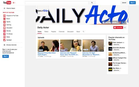 Screenshot of YouTube Page youtube.com - Daily Actor  - YouTube - captured Oct. 23, 2014