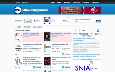 Screenshot of Case Studies Page datastorageasean.com - Data and Storage News from around South East Asia - captured Oct. 7, 2014
