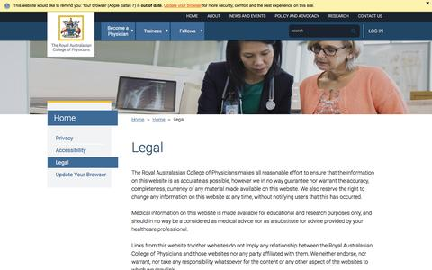 Screenshot of Terms Page racp.edu.au - Legal - captured May 12, 2016
