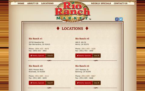 Screenshot of Locations Page rioranchmarket.com - Location Archive - Premier Hispanic Supermarkets | Rio Ranch Market - captured Oct. 26, 2017