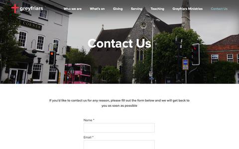 Screenshot of Contact Page greyfriars.org.uk - Contact Us - Greyfriars - captured Sept. 30, 2018