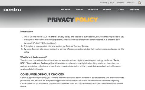 Screenshot of Privacy Page centro.net - Privacy Policy - Digital Advertising Planning and Buying - captured July 12, 2017