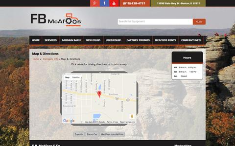 Screenshot of Maps & Directions Page fbmcafoosparts.com - Map and Driving Directions F.B. McAfoos & Co. Benton, IL (618) 438-4721 - captured Nov. 19, 2016