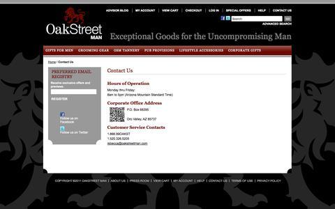 Screenshot of Contact Page oakstreetman.com - Contact Us    OakStreet Man - captured Oct. 27, 2014