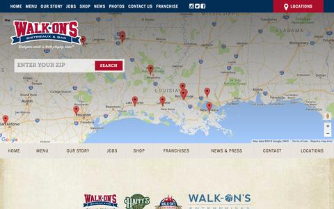 Screenshot of Locations Page walk-ons.com - Locations | Walk-On's Bistreaux & Bar - captured Aug. 11, 2016