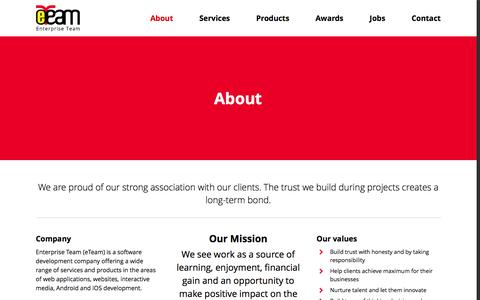Screenshot of About Page eteamid.com - eTeam   Company   Enterprise Team (eTeam) Software Development & Outsourcing Services - captured Jan. 29, 2016