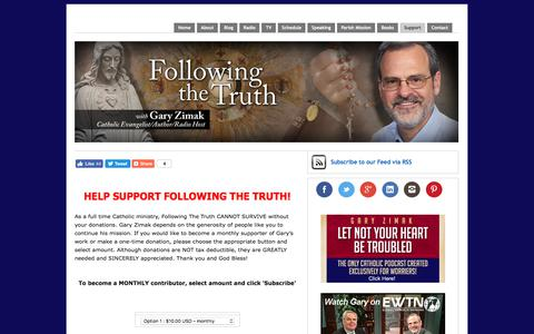 Screenshot of Support Page followingthetruth.com - How you can support the work of Catholic Speaker Gary Zimak | Following The Truth - captured Oct. 14, 2017