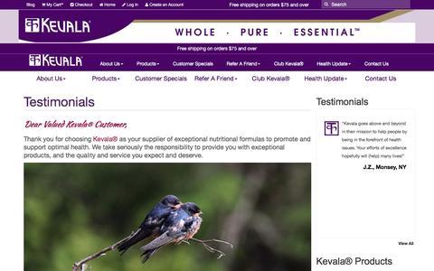 Screenshot of Testimonials Page kevalahealth.net - Kevala Health - captured Jan. 21, 2017