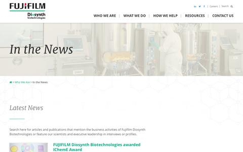 Screenshot of Press Page fujifilmdiosynth.com - Industry News | FUJIFILM Diosynth Biotechnologies - captured Nov. 24, 2016