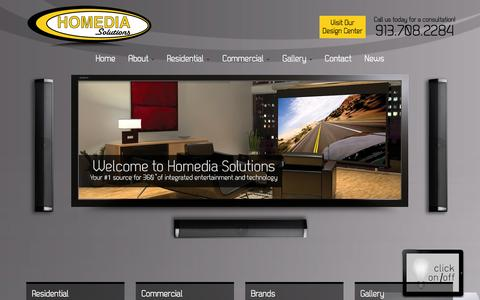 Screenshot of Home Page homediasolutions.com - Kansas City Home Theater | Audio Video Installation | Kansas City - captured Oct. 1, 2014