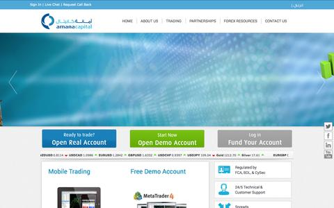Screenshot of Home Page amanacapital.com - Online Forex Trading | Future Currency Oil Gold Silver CDF Indices |Forex Brokers|Meta Trader|Market News| Amana Capital - captured Sept. 23, 2014