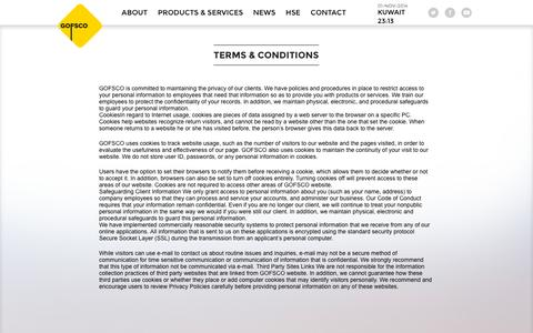 Screenshot of Terms Page gofsco.com - Terms & Conditions | Gofsco - captured Nov. 1, 2014