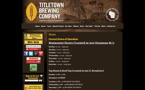 Screenshot of Hours Page titletownbrewing.com - Hours | Titletown Brewing Co. - captured Nov. 13, 2017