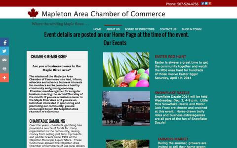Screenshot of About Page mapletonchamber.com - Businesses and events sponsored and promoted by Mapleton Area Chamber of Commerce - captured Oct. 3, 2014