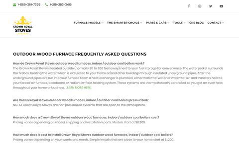 Screenshot of FAQ Page crownroyalstoves.com - Outdoor Wood Furnace FAQ | Crown Royal Stoves - captured Oct. 26, 2018