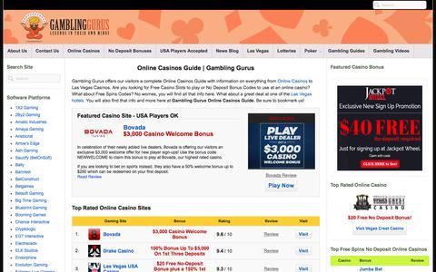 Screenshot of Home Page gamblinggurus.com - Gambling Gurus Online Casinos Guide | Real Money No-Deposit Bonuses - captured June 15, 2018