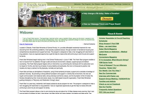 Screenshot of Home Page freshstartministries.com - Welcome | Fresh Start Ministries - captured Oct. 6, 2014