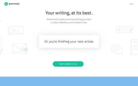 Screenshot of Home Page grammarly.com - Free Grammar Checker   Grammarly - captured Aug. 14, 2017