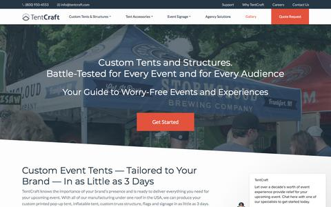 Screenshot of Home Page tentcraft.com - TentCraft says… - captured July 2, 2018