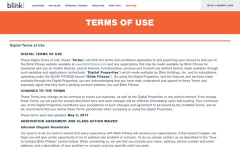 Screenshot of Terms Page blinkfitness.com - terms of use - captured Aug. 2, 2018