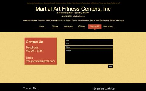 Screenshot of Contact Page mafci.com - Martial Art Fitness Center, Inc. | Contact Us - captured March 23, 2017