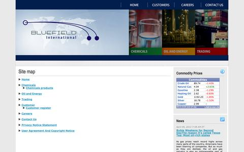 Screenshot of Site Map Page bluefieldintl.com - Bluefield International Inc. Distribution Company Miami - captured Oct. 5, 2014