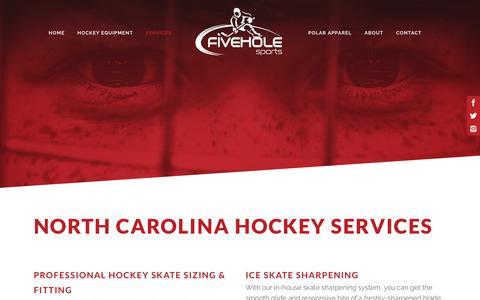 Screenshot of Services Page fiveholesports.com - Five Hole Sports | North Carolina Hockey Services - captured Aug. 15, 2018