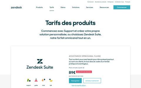 Screenshot of Pricing Page zendesk.fr - Tarifs Zendesk   Des éditions à partir de 5$ par mois - captured Oct. 5, 2018