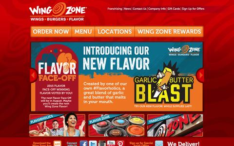 Screenshot of Home Page wingzone.com - Wing Zone | We Deliver Amazing Flavor - captured Feb. 14, 2016