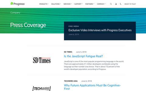 Screenshot of Press Page progress.com - Press Coverage - Page 7 - captured July 17, 2019