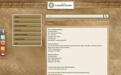 Screenshot of Contact Page cherokee.org - Contact - captured Dec. 14, 2018