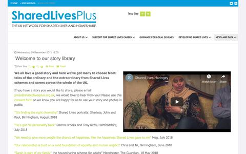 Screenshot of Case Studies Page sharedlivesplus.org.uk - Welcome to our story library - Shared Lives Plus - captured Oct. 18, 2018