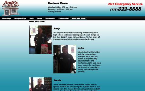 Screenshot of Team Page andyslock.com - Andy's Lock & Key: Serving Reno Sparks with over 100 years of combined experience - captured Oct. 4, 2014
