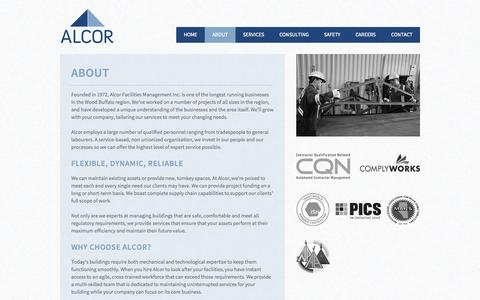 Screenshot of About Page alcorfacilities.com - Alcor Facilities Management | Alberta - captured Oct. 4, 2014