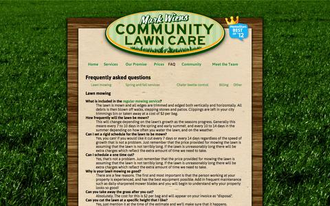 Screenshot of FAQ Page communitylawncare.ca - Frequently asked questions – Mark Wiens Community Lawn Care - captured Oct. 27, 2014