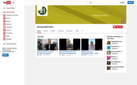 Screenshot of YouTube Page youtube.com - ammonia21com  - YouTube - captured Oct. 23, 2014