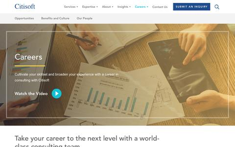 Screenshot of Jobs Page citisoft.com - Citisoft   Citisoft Technology and Operations Consulting Careers - captured July 18, 2018