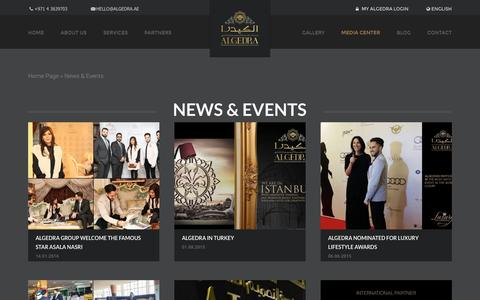 Screenshot of Press Page algedra.ae - News & Events - Luxury Villas | ALGEDRA - captured Jan. 17, 2016