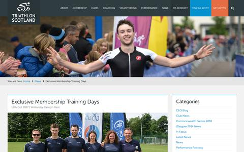 Screenshot of Signup Page triathlonscotland.org - Exclusive Membership Training Days - Triathlon Scotland - captured Nov. 9, 2017