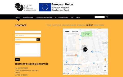 Screenshot of Contact Page fashion-enterprise.com - Centre for Fashion Enterprise Contact us - Centre for Fashion Enterprise - captured Sept. 27, 2018