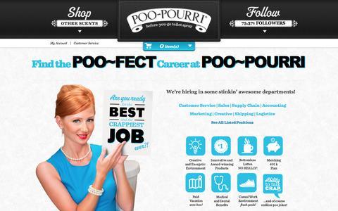 Screenshot of Jobs Page poopourri.com - Careers | Poo~Pourri - captured Sept. 19, 2014